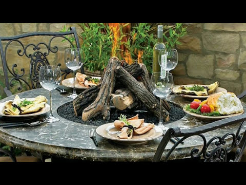 outdoor dining table with fire pit in the middle youtube. Black Bedroom Furniture Sets. Home Design Ideas