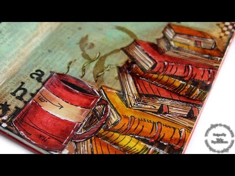 Art journal layout - books and coffee