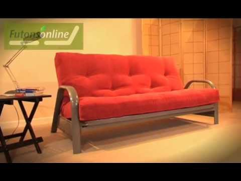 futons online show a 3 seater metal futon sofabed youtube. Black Bedroom Furniture Sets. Home Design Ideas