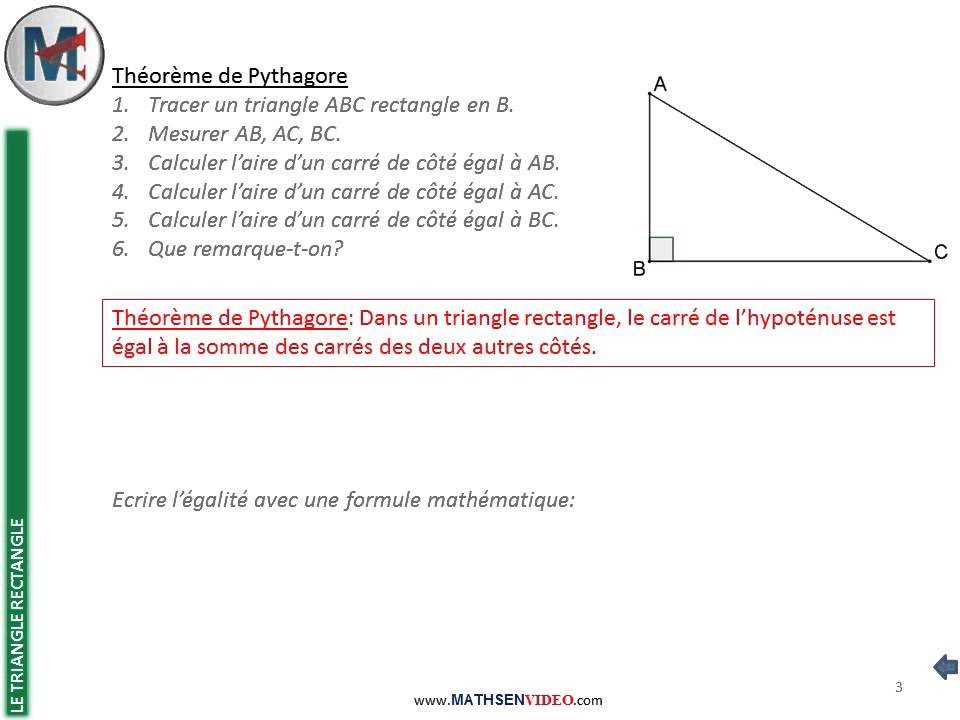 4 me le triangle rectangle th or me de pythagore calcul d 39 hypot nuse youtube. Black Bedroom Furniture Sets. Home Design Ideas