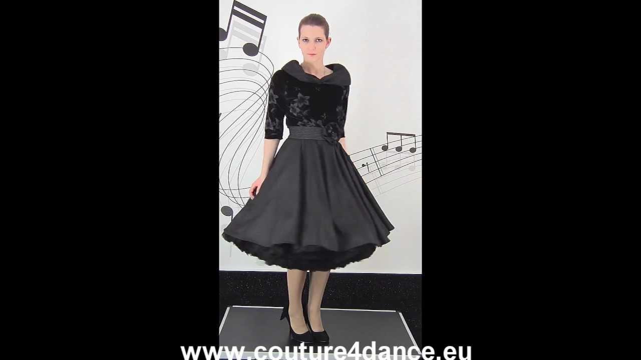 Petticoatkleid / Petticoatdress Samt Schwarz
