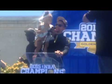 Stephen Curry, Riley Curry Speech At Warriors Rally Oakland