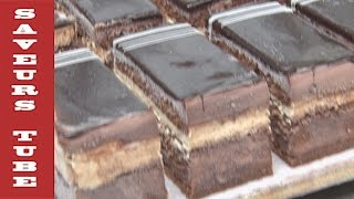 Opera cake French Chocolate sponge cake with TV Chef Julien from Saveurs Dartmouth UK