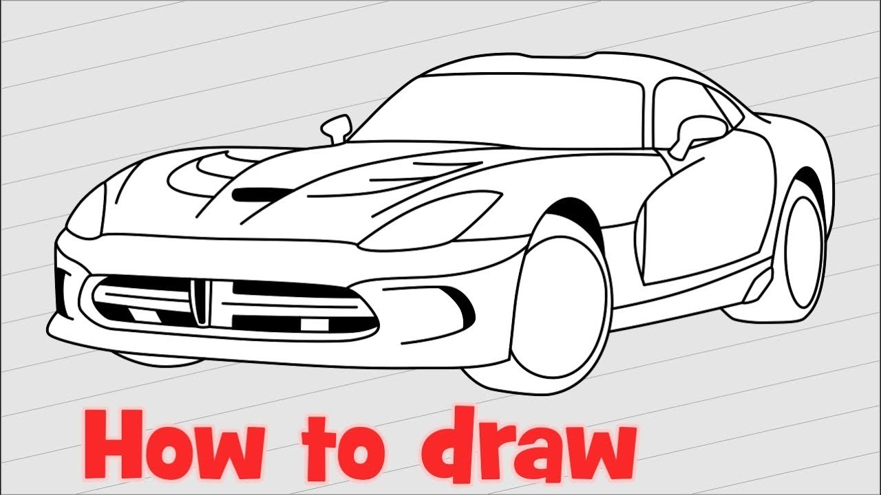 how to draw a car dodge viper srt 2017 youtube. Black Bedroom Furniture Sets. Home Design Ideas