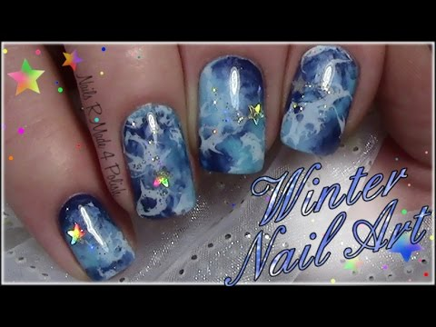 winter nails with stars / easy nail art design tutorial