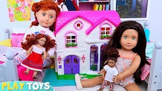Baby Doll Evening Routine for School & Doll House Toys Play!