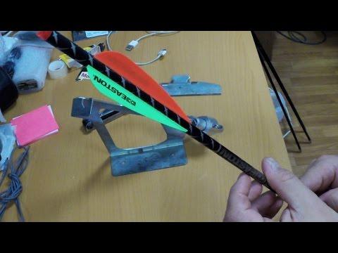 Cмотреть видео онлайн Как поклеить перья на стрелу для арбалета