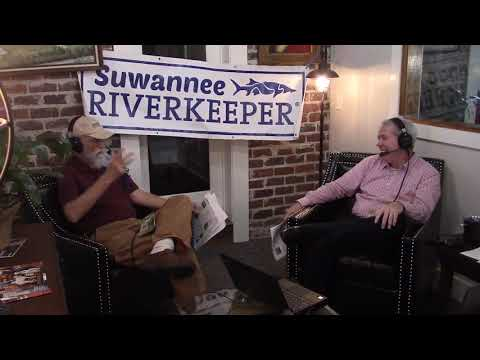 Mud on the mask from the cleanup --Suwannee Riverkeeper on Scott James radio 2020-10-13