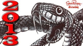 How to Draw a Snake in Ballpoint Biro Pen - Year of the Snake!