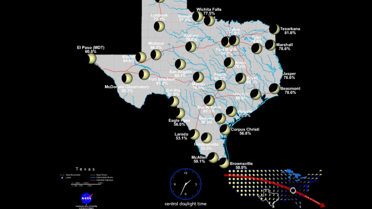 Image result for total eclipse 2017 map texas