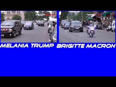 Melania Trump Vs Brigitte Macron convoy in Paris
