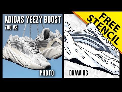 Adidas Yeezy Boost 700 v2 – Sneaker Drawing w/ FREE Stencil