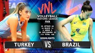 TURKEY vs BRAZIL - HIGHLIGHTS | Women's VNL 2019