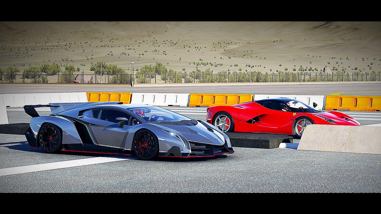 Lamborghini Veneno Vs Ferrari Laferrari Drag Race