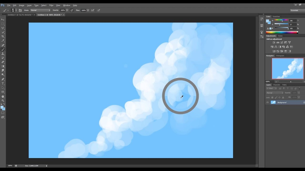How to paint basic clouds in Photoshop  YouTube