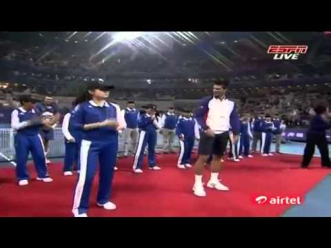 Novak Djokovic dancing with Ballkids and Trophy - Beijing ATP 500 - 07.10.2012