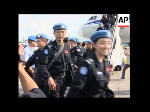 Chinese peacekeepers arrive to help UN force