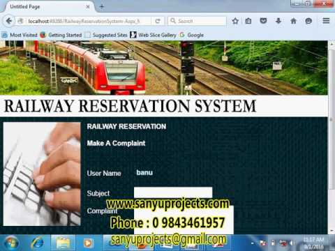 Railway Reservation System Asp Net Student Project Youtube