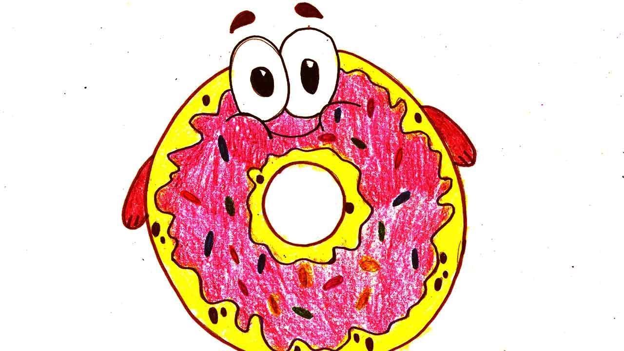 Как нарисовать пончик с глазками по шагам. Картинка ...