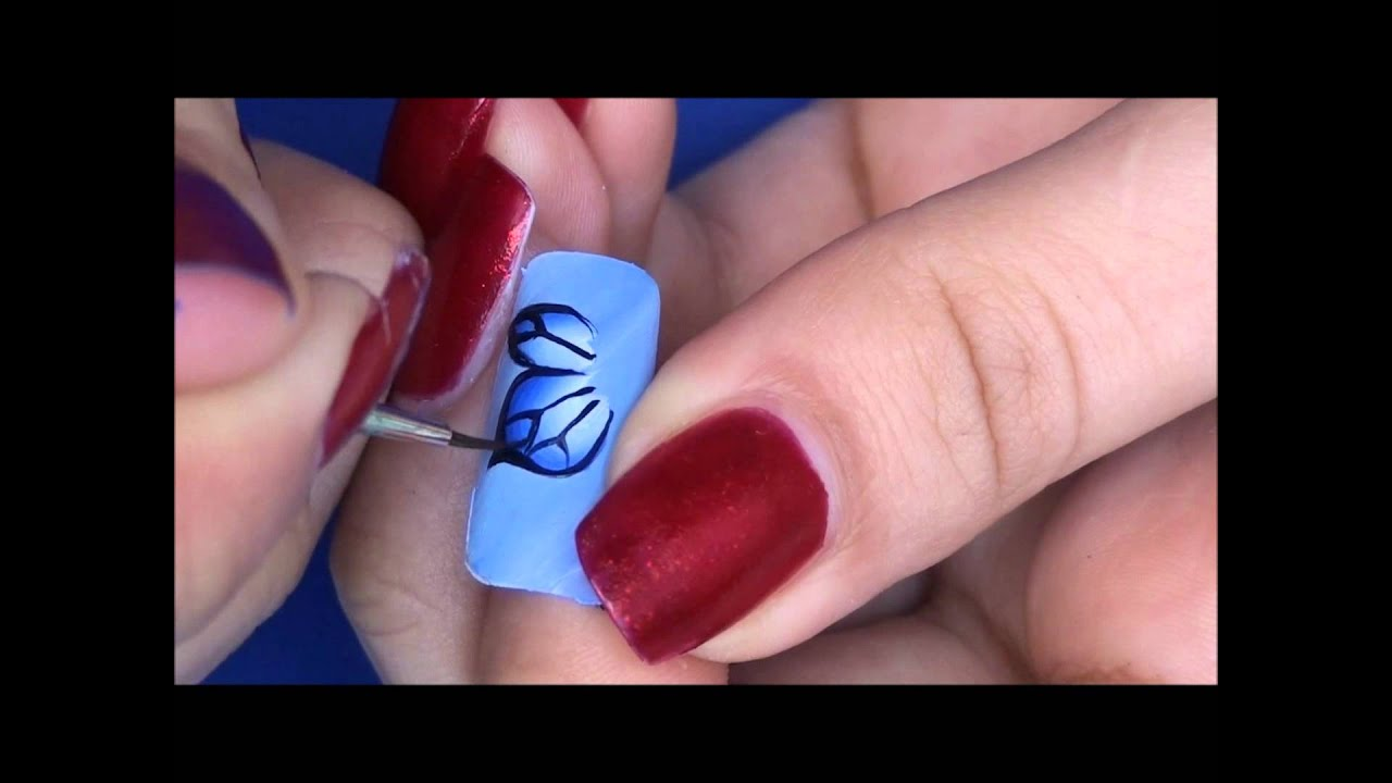 - Easy One Stroke Butterfly Nail Art Tutorial - YouTube
