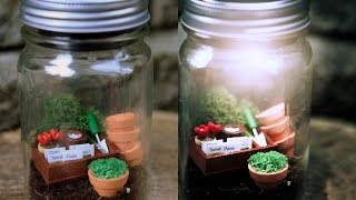 Miniature garden worlds that come alive at night using mason jars and solar lights: ebay.to/1I5BZPm #sponsored.