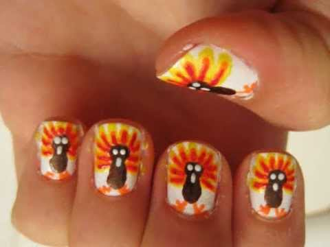 Thanksgiving Turkeys Nail Art Tutorial Youtube