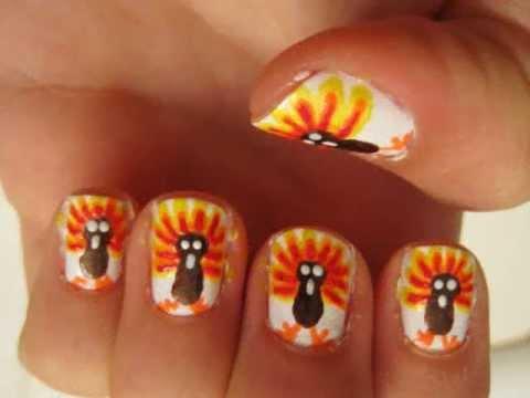 thanksgiving turkeys nail art tutorial