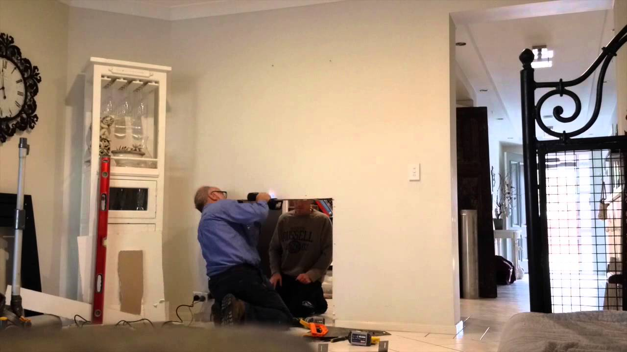 Time lapse of Double Sided Fireplace install - YouTube