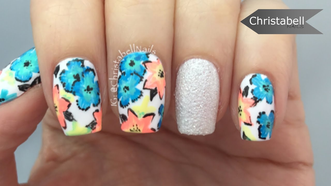 Tropical Flower Nail Art Tutorial - YouTube
