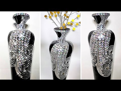 Diy Bling Vase from scratch with cardboard!| Large Floor Vase| Inexpensive Home Decor Ideas!