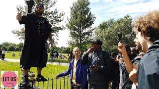   Muslim Interrogates 3 Atheists!   Abdul Hamid   Speakers Corner  