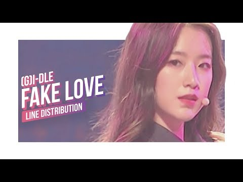 (G)I - DLE - Fake Love Line Distribution (Color Coded) | (여자)아이들