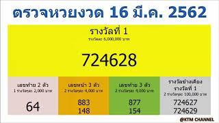 ตรวจหวยวันนี้ ผลสลากกินแบ่งรัฐบาล งวด 16/3/2562 (16 มี.ค. 2562)