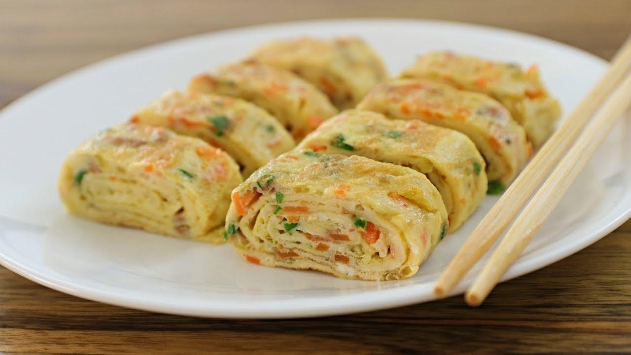 Rolled Omelette Recipe   How to Make Korean Egg Roll - YouTube