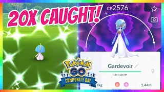 20x SHINY RALTS CAUGHT during COMMUNITY DAY in Pokemon Go! ( SHINY GARDEVOIR & GALLADE EVOLUTIONS )