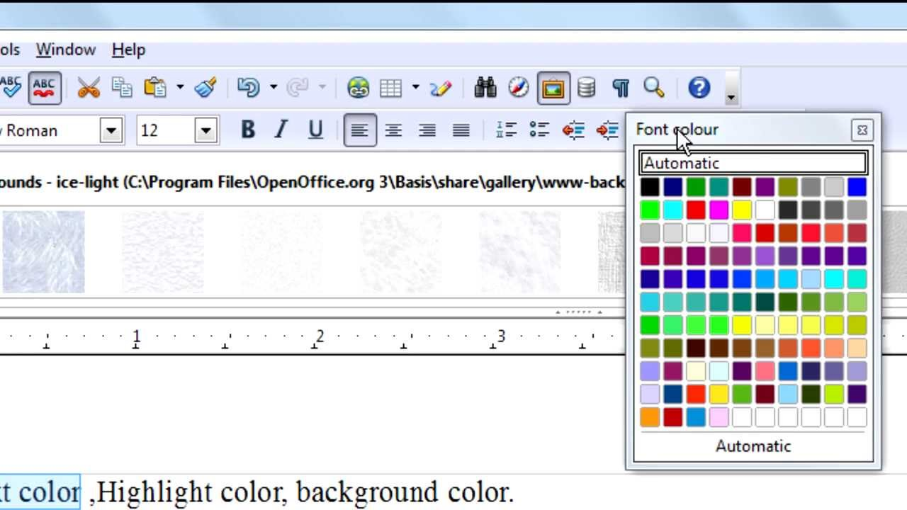 openofficeorg writer tutorial text colorhighlight colorbackground color