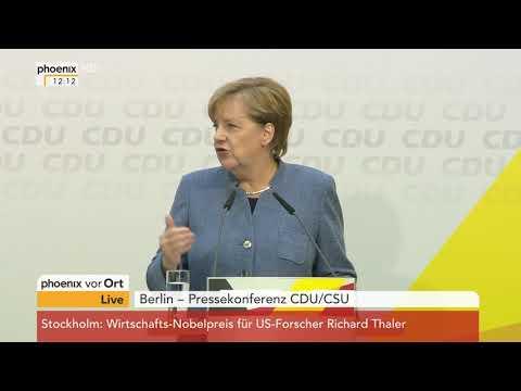 Pressekonferenz mit Angela Merkel und Horst Seehofer zum Unionstreffen am 09.10.17