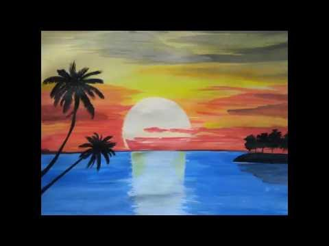 Paint beautiful sunset