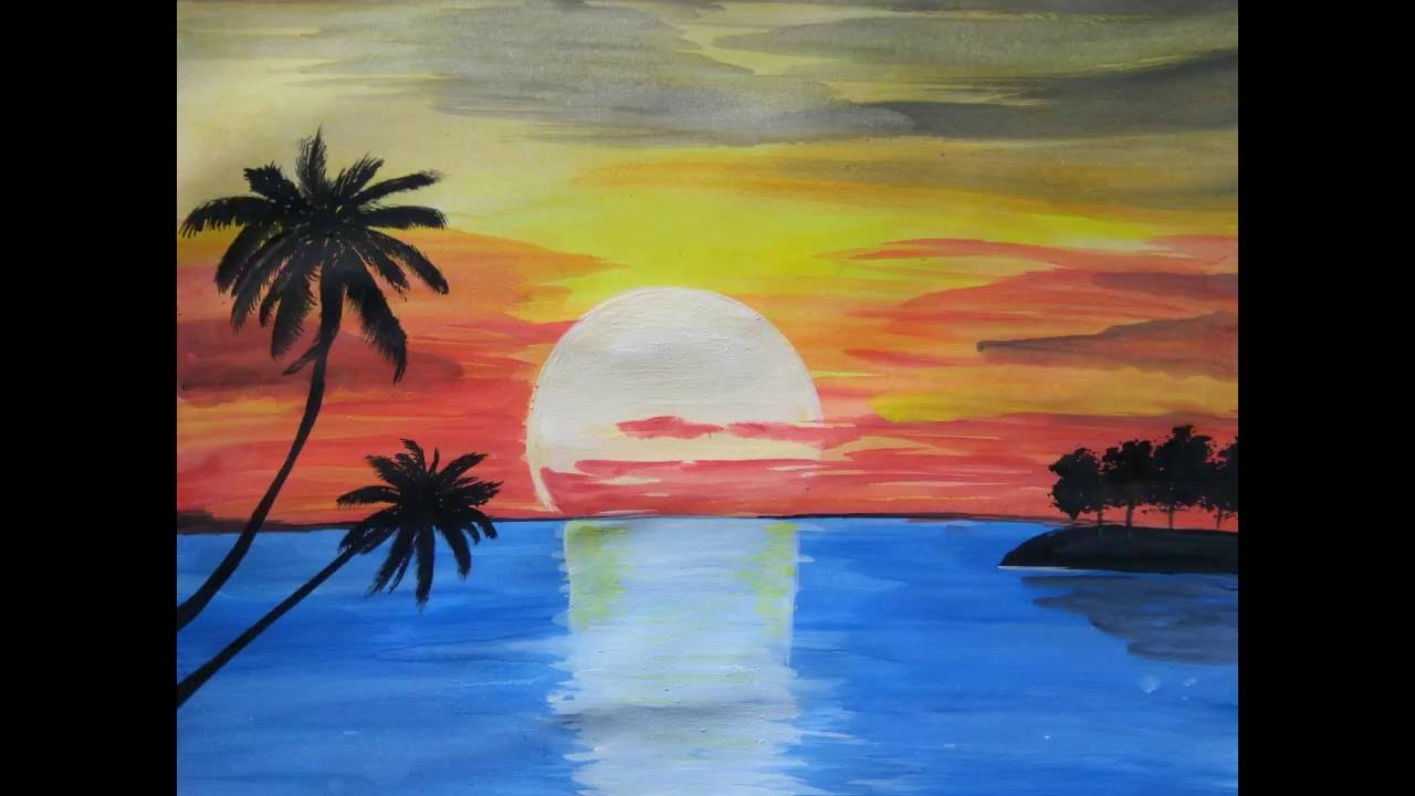 Paint beautiful sunset - YouTube | title | sunset painting