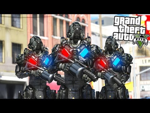 *NEW* POLICE ROBOTS... How bad can they be?? (GTA 5 Mods - Evade Gameplay)