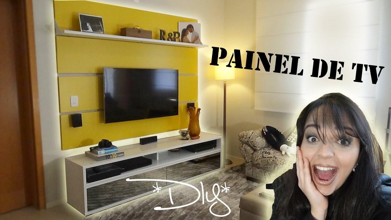 DIY Painel de TV para decoraç u00e3o de Sala Rebeca Salvador YouTube -> Decoração Para Sala De Tv Com Painel