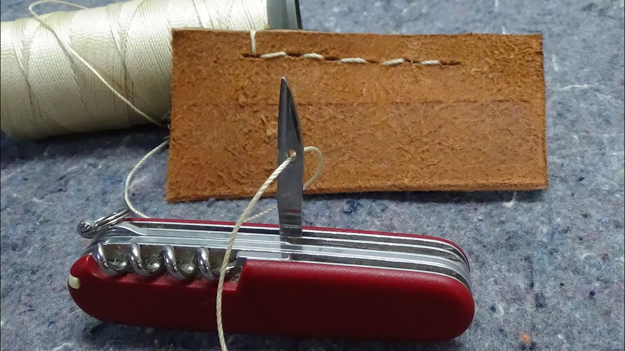 How To Sew With A Swiss Army Knife Awl Reamer Youtube