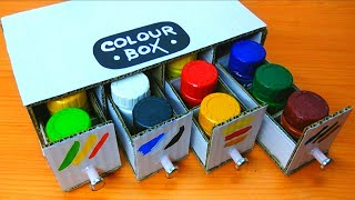 How to make Simple & Easy  Painting Colour Box from cardboard - Desktop Organizer [Tutorial].