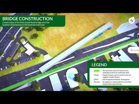 Darlington Upgrade Project - Second Bridge Installation Over Southern Expressway Animation