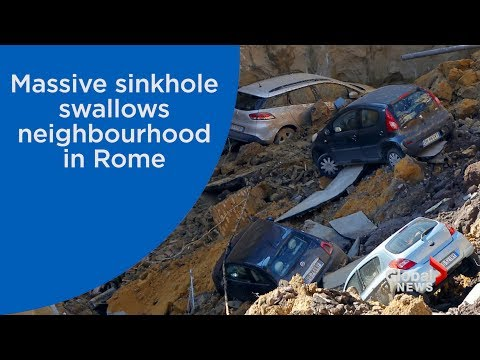 Massive car-swallowing sinkhole in Rome sparks police investigation