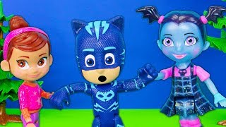 PJ Masks Catboy has a Love Spell over Bridget and Poppy fall at Vampirina
