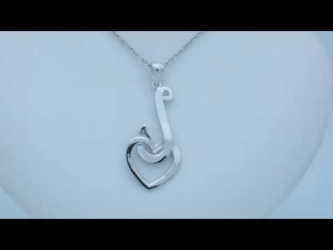Rhodium-Plated 925 Sterling Silver Fish Hook With Heart Pendant