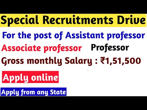 SPECIAL RECRUITMENT DRIVE FOR ASSISTANT PROFESSOR 2020/ GROSS MONTHLY SALARY Rs 1, 51,500/-