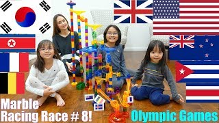 Family Toy Playtime: Olympic Games, MARBLE RACING Game Race Number 8! Educational Game
