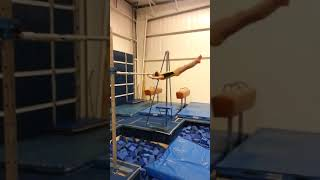 Cute Little Gymnast Lands Flyaway Move on High Bar - 1025618-4
